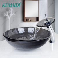 KEMAIDI Modern Tempered Waterfall Glass Sink Countertop Washing Basin Hand Painting Wash Basin Sink Bathroom Sink Glass Faucet