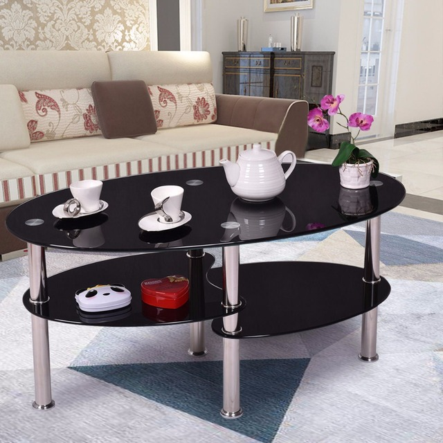 Goplus Tempered Glass Oval Side Coffee Table Shelf Chrome Base Living Room Clear Black Modern Coffee Table HW54317 3