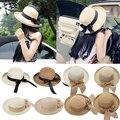 Moda Verão Mulheres Casuais Senhoras Boné de Aba Larga Beach Sun Chapéu de Palha Elegante Para Mulheres Datam de 9 Cores