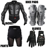 Sport racing skiing drop resistance Racing Motorcycle full body armor jackets+Racing Shorts+Knee pads+Gloves