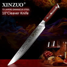 "XINZUO 10"" inch Slicing Knife Japan Damascus Steel Cleaver Meat Knife Rosewood Handle Pro Sashimi Sushi Chefs Knives"