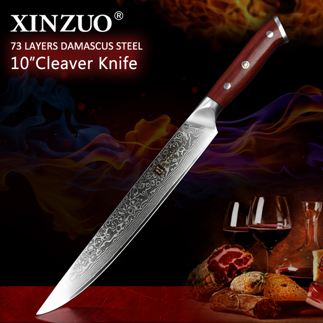 """XINZUO 10"""" inch Slicing Knife Japan Damascus Steel Cleaver Meat Knife Rosewood Handle Pro Sashimi Sushi Chefs Knives"""