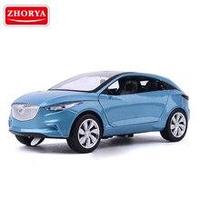 Zhorya 1:32 Ölçekli Yüksek Simülasyon Konsept Araba Işık ve Müzik Diecast Metal oyuncak arabalar Çocuklar Için Geri Çekin Model Açık kapı