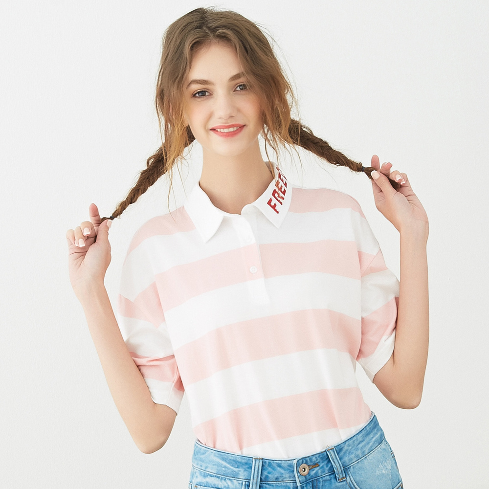 Metersbonwe Girls Female Polo shirt loose Striped color simple Sweet Girls  ins hot Polos Student South Korea Style|Polo Shirts| - AliExpress