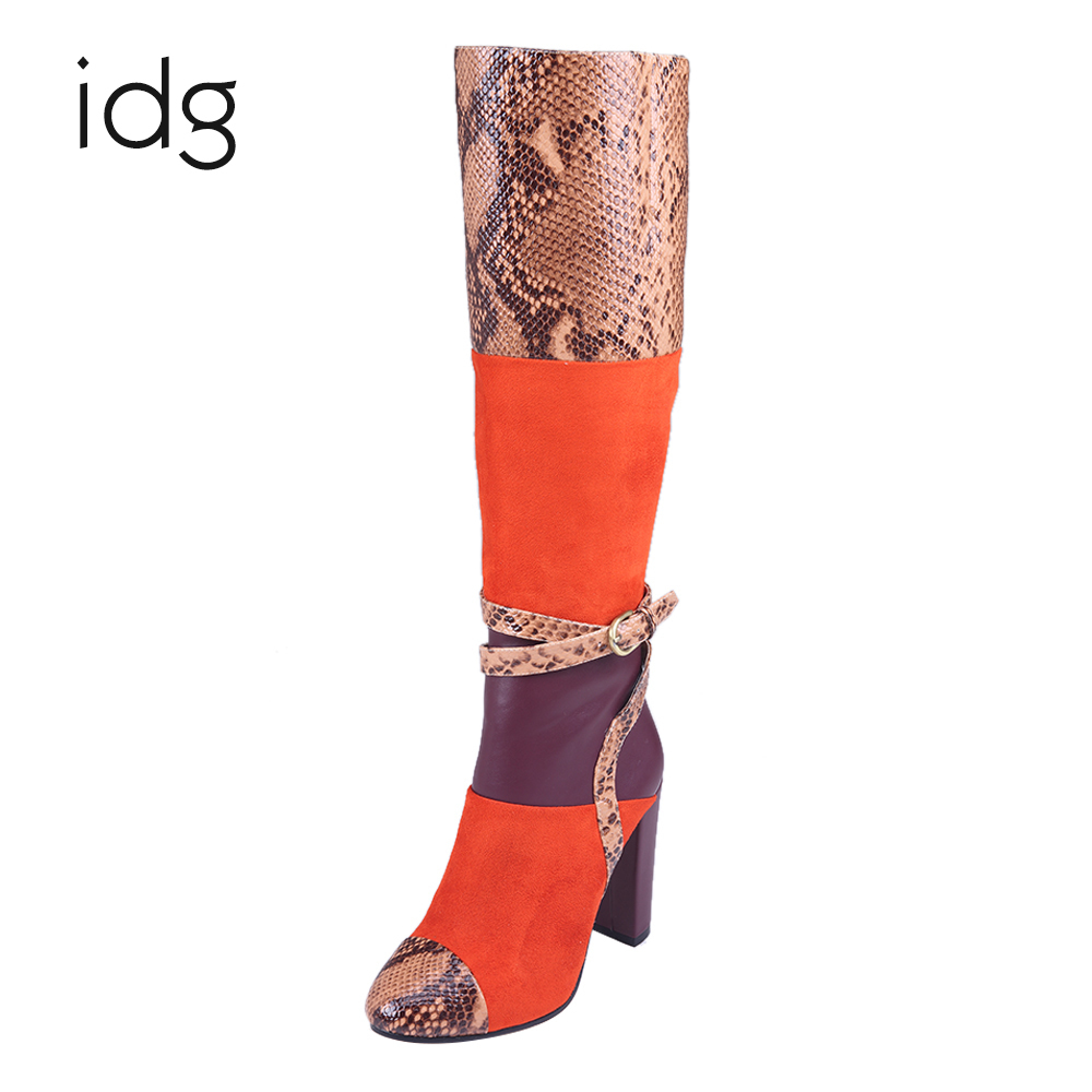 Idg Brand Three Color Fight Snake Skin Buckle High - Heeled Winter Warm bota feminina shoes woman mujer idg brand women slip on high heels short rough with the fall and winter metal buckle rivets shoes woman zapatos mujer tacon