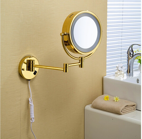 Hot Sale Bathroom Gold Wall Mounted 8 inch Brass 3X/1X Bath Led Mirror Folding Makeup Mirror Cosmetic Mirror Lady Gift fashionable design hot sale bathroom makeup mirror multiple colors wall mounted