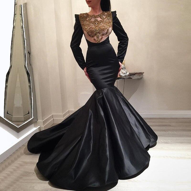 Black Muslim   Evening     Dresses   2019 Mermaid Long Sleeves Lace Beaded Elegant Islamic Dubai Saudi Arabic Long Formal   Evening   Gown