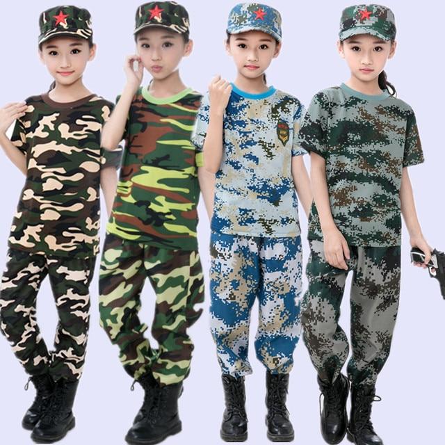 21cc8185680 Kinderen Militaire Training Uniformen Camouflage Kleding Set Kid Militaire  Uniform kinderen Leger Pak Prestaties Podium Kostuum