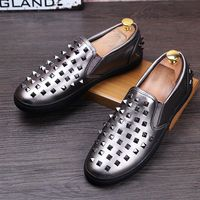 CUDDLYIIPANDA Fashion Genuine Leather Men Shoes Zapatillas Superstar Casual Low Top Rivets Men Loafers Shoes Round