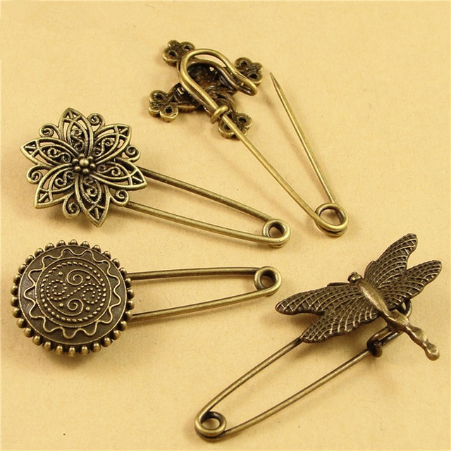 DoreenBeads 5 Cm Lange Sicherheitsnadeln Vintage Mode Brosche Tier Blume Flügel  Form Ornamente Für Schal