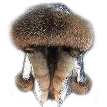 Новинка 2017 модная Длинная зимняя куртка женская верхняя одежда толстые парки Настоящее теплый Лисий Мех Лайнер натуральным мехом енота пальто капюшон
