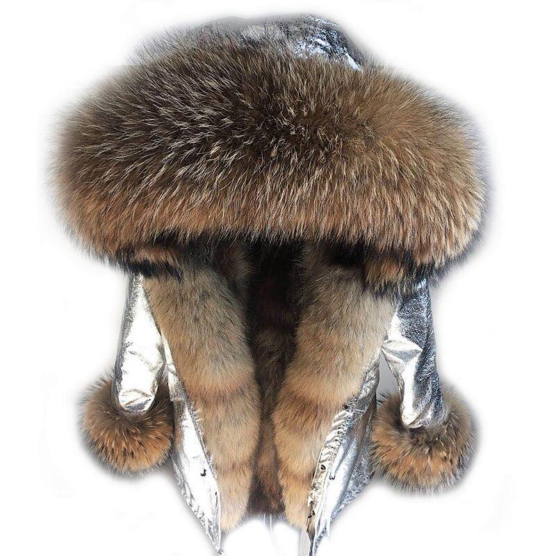 2017new lungo inverno di modo rivestimento delle donne outwear parka di spessore reale caldo pelliccia di volpe fodera reale naturale collo di pelliccia di procione cappotto cappuccio