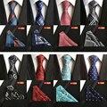 2016 Do Vintage Dos Homens de Moda Gravata Conjunto Lenço 8 cm Laços Dos Homens Gravata de Seda Gravata Handerchief Negócio Xadrez Listras Paisley Casuais empate