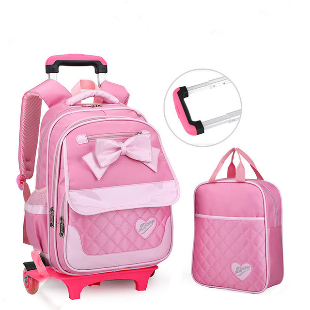 68cb6563bd 2 Wheels Children School bags Primary student trolley backpack Girls rolling  luggage travel bag on wheels