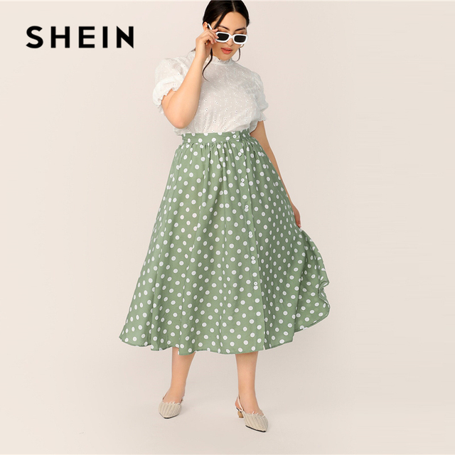 SHEIN Plus Size Green Polka Dot Button Up A Line Skirt 2019 Women Spring Summer Casual Elegant Long Loose Officewear Skirts 3