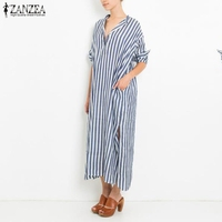 ZANZEA Women Dress 2017 Autumn Fashion Striped Maxi Long Party Dresses Casual Loose V Neck Split