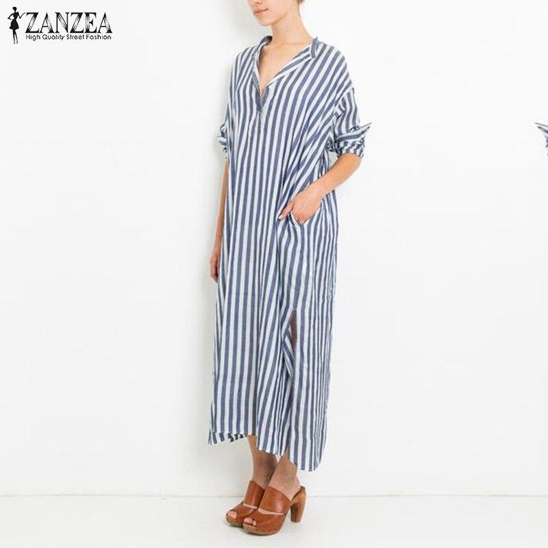 ZANZEA Women Dress 2018 Autumn Fashion Striped Maxi Long Party Dresses Casual Loose V Neck Split Hem Vestidos Plus Size