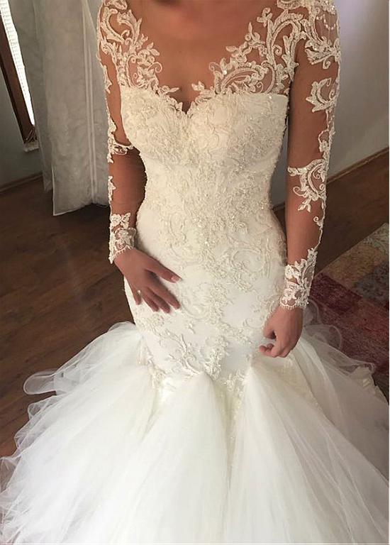 Long Sleeves Vestido De Noiva 2018 Muslim Wedding Dresses Mermaid V-neck Tulle Lace Beaded Dubai Arabic Wedding Gown Bridal