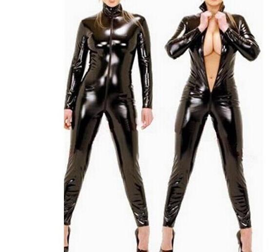 LT88 Sexy Lingerie Women Latex Catsuit Faux Leather Front Zipper Crotch 2017 Bodysuit Fetish Costumes Erotic