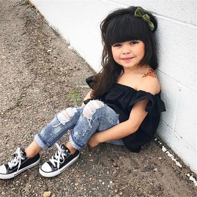 2Pcs Fashion Girls Clothes Set Off Shoulder Tops T-Shirts Denim Pants Ripped Jeans Set Summer Baby Bebes Children Clothing Set