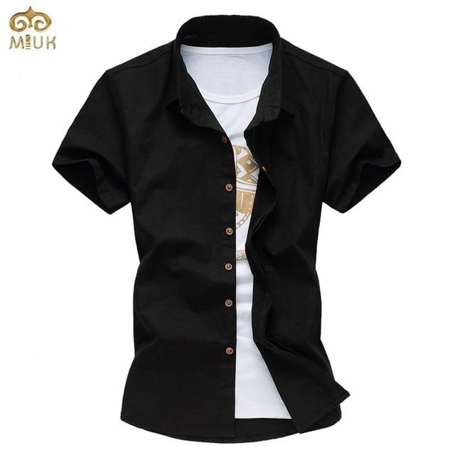 Super Grande Tamanho 6XL 5XL Linho Chemise Homme Preto Branco de manga curta camisa masculina marca clothing camisas dos homens 2017 novo verão