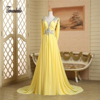 V-neck Cap Sleeves Silver Rhinestones Beading Open Back Yellow Prom Dress Chiffon Sexy Evening Gowns vestidos longo