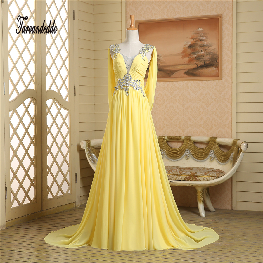 V-neck Cap Sleeves Silver Rhinestones Beading Open Back Yellow   Prom     Dress   Chiffon Sexy Evening Gowns vestidos longo