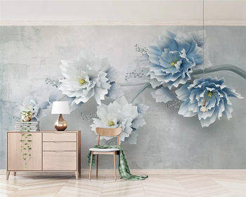 beibehang Customized high-grade silky wallpaper new 3d blue embossed peony flower Chinese background wall papers home decor