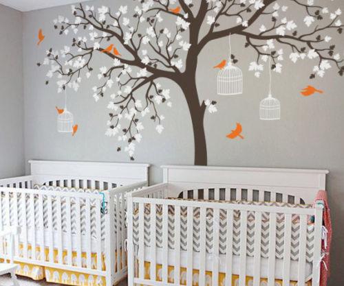 C198 большой размер клетка для птиц на дереве детские наклейки на стену Съемная Виниловая наклейка для детской комнаты Декор стены художеств...