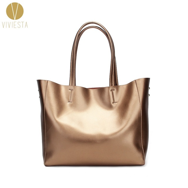 GENUINE LEATHER METALLIC HORIZONTAL TOTE - Women s Winter Silver Gold Large  Big Size Cabas Shopping Shopper 8fc811098463b