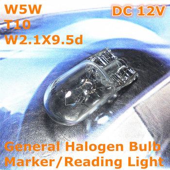12V General Halogen Car Bulb Lamp Warm White Color W5W T10 W2.1X9.5d for Width Marker License Board Top Reading Light image
