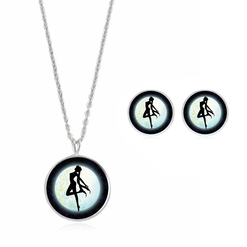 Necklace and Earring Jewelry Set Silver Plated with Glass Cabochon Gril Pattern Stud Earring&Necklace Set for Women Gift