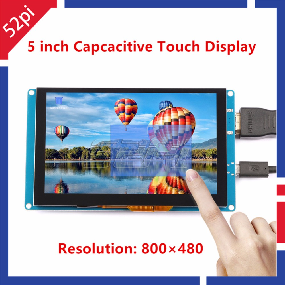 52Pi Ship from CN/US! Free Driver 5 inch 800*480 Display Capacitive Touch Screen Monitor for Raspberry Pi/PC Windows Plug & Play 52pi 7 inch 1024 600 free driver tft display capacitive touch screen monitor for raspberry pi win beaglebone black plug and play