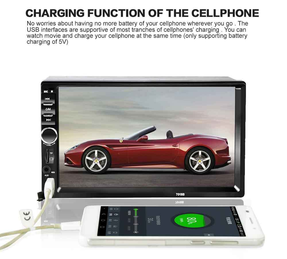 7018B Universal 7 Inch 2 DIN Car Audio Stereo Player Touch Screen Car Video MP5 Player Support Bluetooth TF SD MMC USB FM Radio 2 din car video player 7 tft touch screen bluetooth radio audio stereo mp5 player support aux fm usb sd mmc remote control