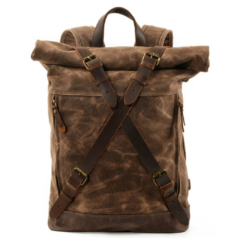 M269 New Luxury Vintage Canvas Backpacks for Men Oil Wax Canvas Leather Travel Backpack Large Waterproof Daypacks Retro Bagpack-in Backpacks from Luggage & Bags    1