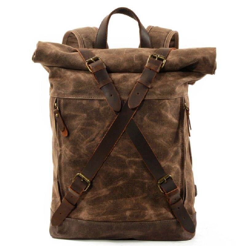 M269 nowa luksusowa rocznika płótno plecaki dla mężczyzn wosk z oliwek płótno skóra podróży plecak duża wodoodporne plecaki Retro Bagpack w Plecaki od Bagaże i torby na  Grupa 1