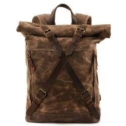 M269 nuevas mochilas de lona Vintage de lujo para hombres mochila de viaje de cuero de tela encerada Mochila GRANDE impermeable mochila Retro