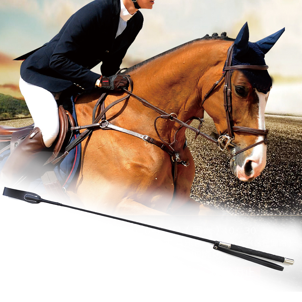 Lash Horseback Training Non Slip Handle Supplies Durable Horse Whip Equestrian Racing Role Plays Leather Stage Performance