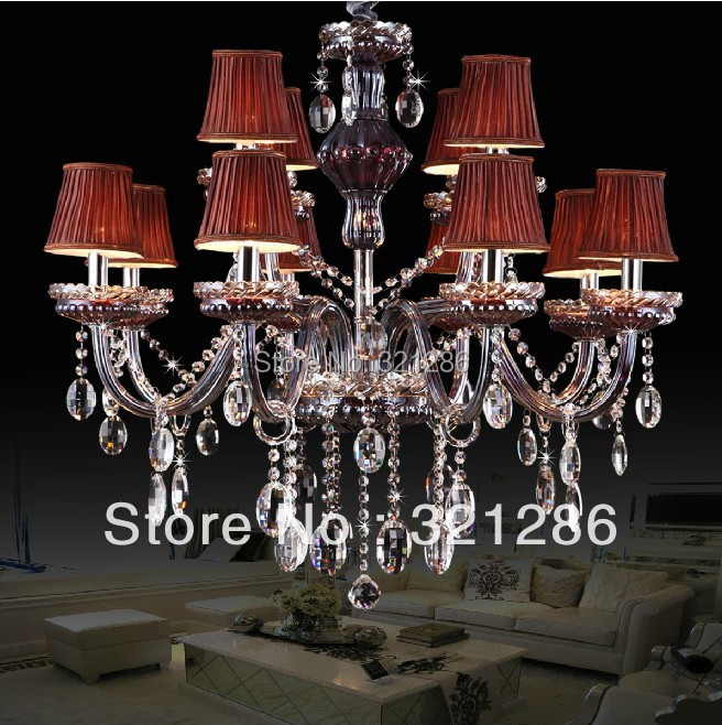Fashion 12 lights Large red purple color chandelier Crystal lamp for bedroom lobby wedding crystal chandeliers light