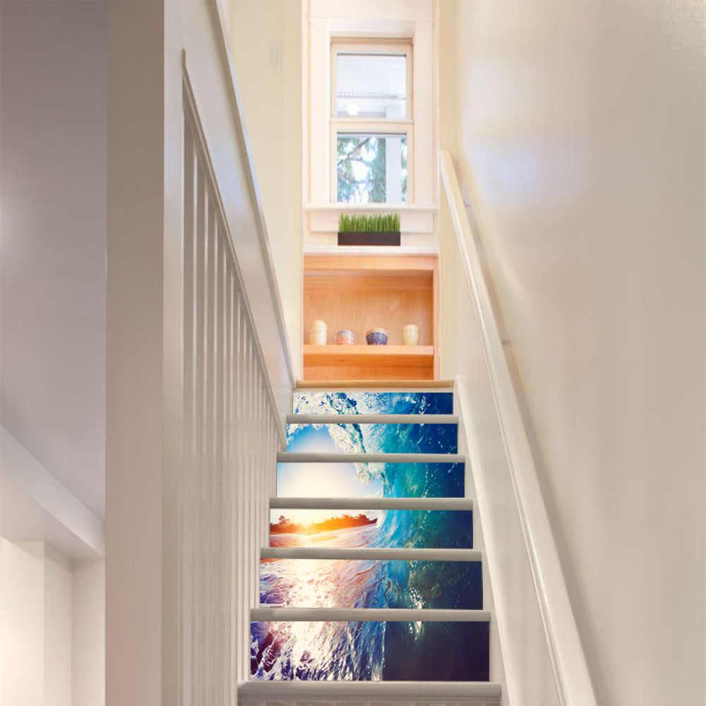6 Stucke 13 Stucke Meer Roll Wellen Treppen 3d Aufkleber Schalen Und Aufkleber Wohnkultur Treppen Aufkleber Diy Landschaft Korridor Treppe Wandmalereien Wandaufkleber Aliexpress