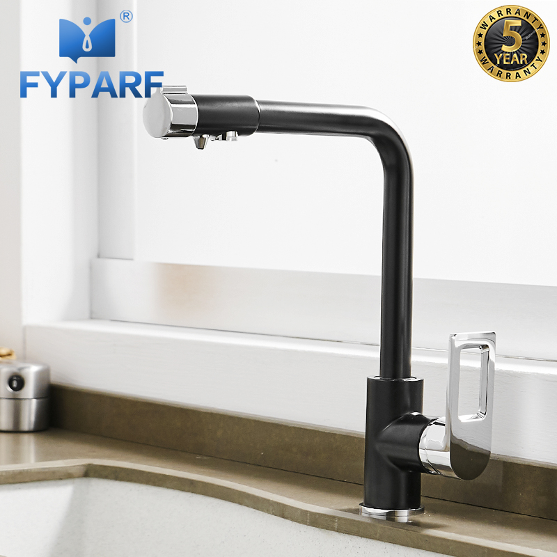 FYPARF Matte Black Kitchen Faucet Water Purifier Drinking Water Sink Mixer Tap 360 Degree Rotation Kitchen