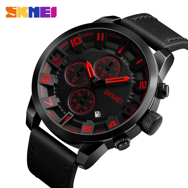 SKMEI Mens Watches Top Brand Luxury Famous Quartz Watch Waterproof Date Leather Sport Wrist Watch Clock Men Relogio Masculino skmei 6911 womens automatic watch women fashion leather clock top quality famous china brand waterproof luxury military vintage