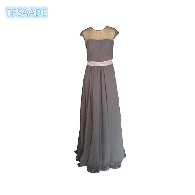 Grau A line Prom Kleider scoop Neck kurzarm Prom Kleider Illusion ...