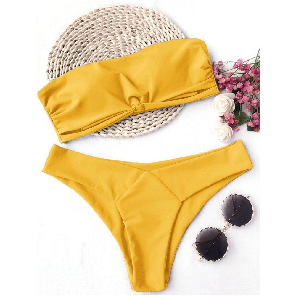 LANGSTAR 2018 Frauen Bandeau Padded Bikini Set Sexy Low Taille Einfarbig Liebsten Badeanzug Schwimmen Badeanzug Brasilianische Bademode