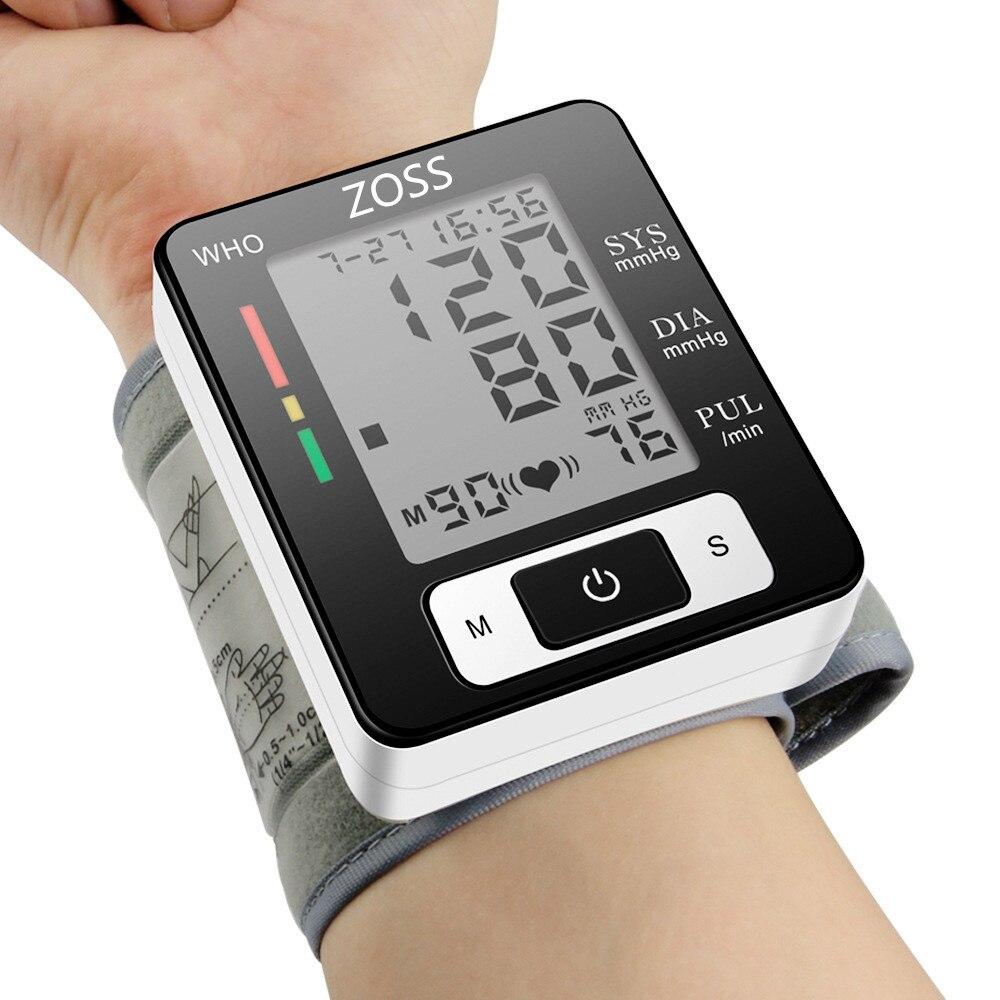 ZOSS Inglês ou Russo Voz Esfigmomanômetro De Pulso Manguito Presure do Sangue Monitor de Medidor de Freqüência Cardíaca De Pulso BP Tonômetro Portátil