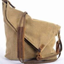Корейская Ретро Новинка, винтажная Мужская Военная холщовая+ Кожаная сумка через плечо, мужская сумка через плечо, сумка через плечо