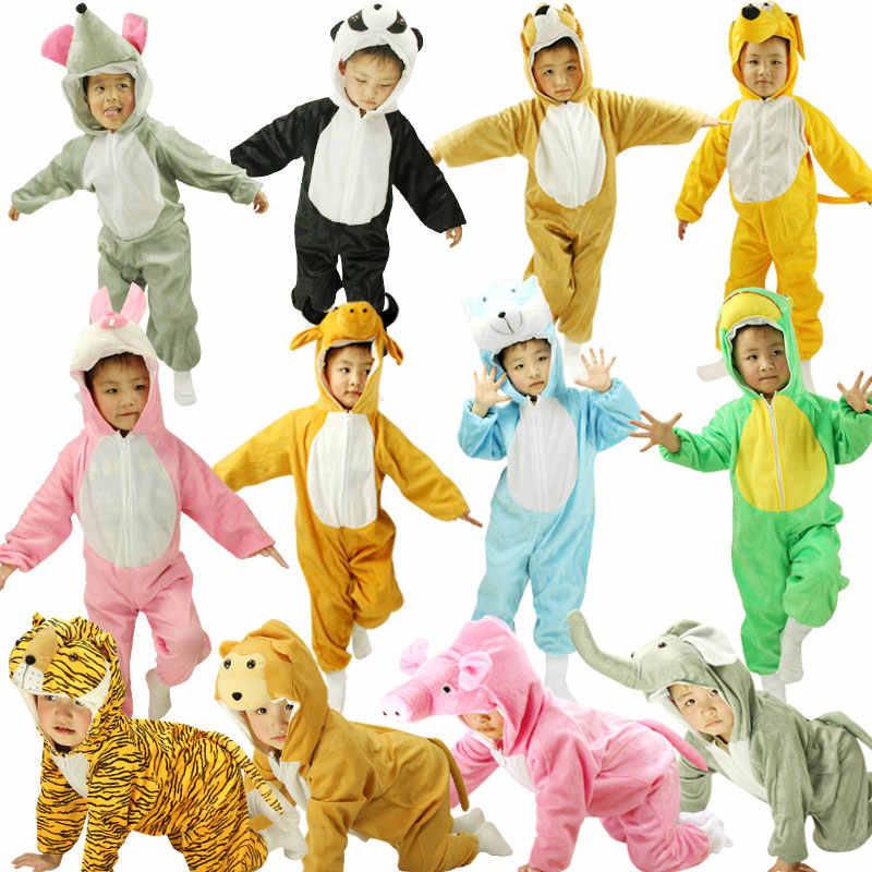 NoEnName косплей мультфильм зима Kigurumis пижамы детские комбинезоны  Пижамный Костюм Собака Кошка Тигр Слон Пижама животные 93603afefd5e9