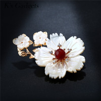 K S Gadgets Bouquet Wedding Brooch Gold Color Big Shell Flower Women Brooches With Natural Stone