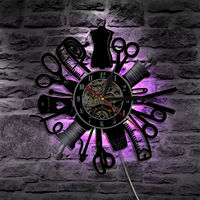 Creative Led Record Wall Clock Battery Operated Decorative Barbershop Non Ticking Seven Colors Change Modern Style