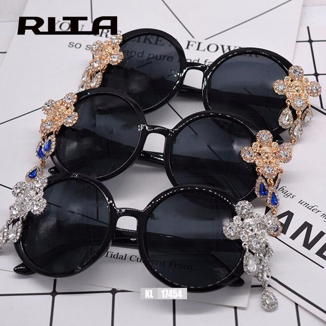 3bd8be58f4734 2017 Italy Oversized Sunglasses Women Brand Designer Diamond Big Frame Sun  Glasses For Womens Gold Retro Woman Sunnies Shades